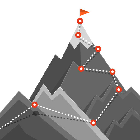 Path to Mountain Top. Success Jurney Concept. Vector Climbing Route Symbol with Flag and Points.