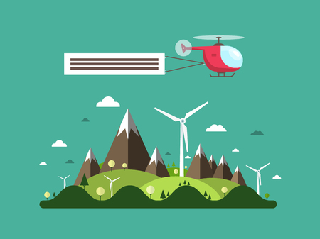 Helicopter over Island. Vector Flat Design landscape with Mountains, Hills and Windmills. Standard-Bild - 124890103