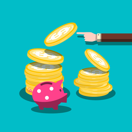 Finance Vector Flat Design Concept. Dollar Coins with hand and Piggy Bank. Cash Money Stack. Economy and Business Background. Ilustrace