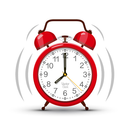 Eight Clock Morning Ringing Red Alarm Clock Vector Symbol. Time Icon Isolated on White Background.