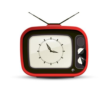 Retro TV with Analog Clock Symbol on Screen Vector Design