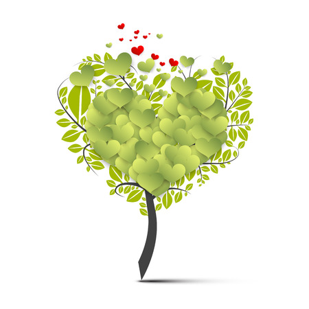 Green Tree Symbol with Flying Hearts