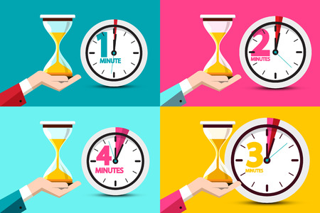 One, Two, Three, Four Minutes Clock Icons. Vector Time Symbol with Hourglass - Sand Clock in Human Hands. Stock Vector - 124749265