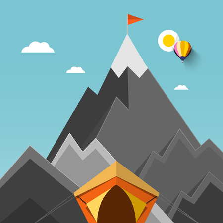 Tent with Mountains on Background with Flag on Highest Mountain Vector Flat Design Illustration