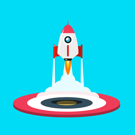 Rocket Launch Vector Symbol. Flat Design Spaceship Icon with Base.