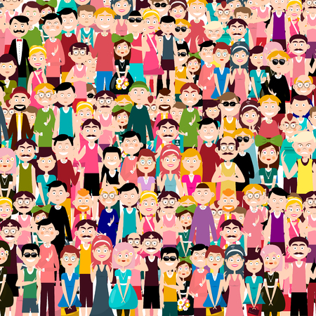 Group of People Vector Flat Design Illustration. Men and Women in Crowd.