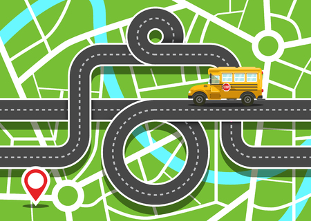 City Map with School Bus on Road and Destination Red Pin - Vector