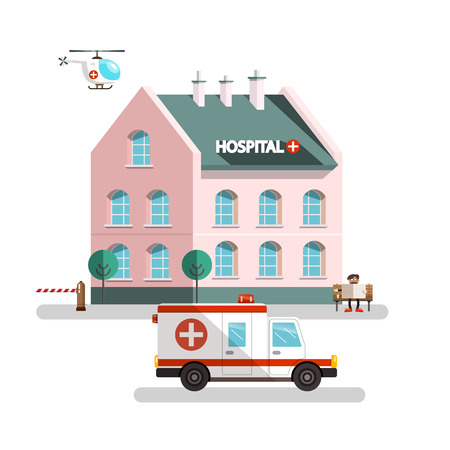 Hospital Building with Ambulance Car, Helicopter and Man Reading Newspapers. Vector Urban Landscape. Illustration