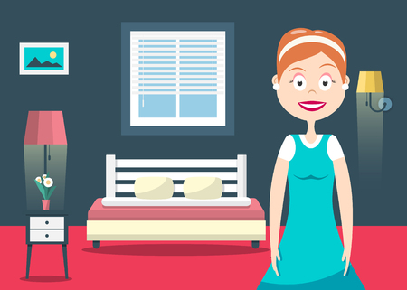Household Woman in Hotel Room Vector Flat Design Illustration. Bedroom Interior with Bed, lamps and Window.  イラスト・ベクター素材