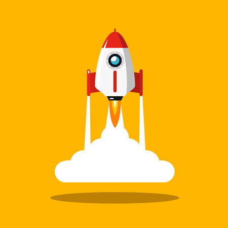 Rocket Launch Vector Symbol. Spaceship Flat Design Icon on Yellow Background.