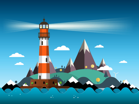 Island with Lighthouse on Sea and Mountains Vector Illustration Illustration