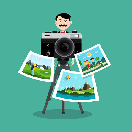 Photographer with Printed Pictures and Retro Camera Vector Design Illustration