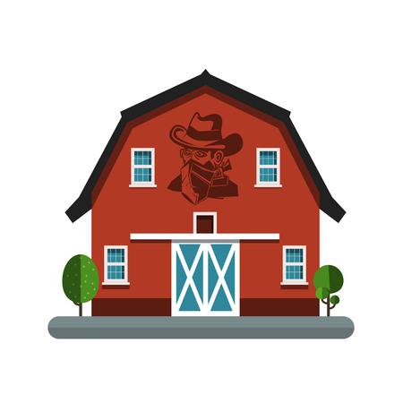 Barn Symbol with Cowboy on Wall. Building Vector Icon.