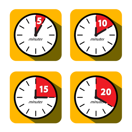 Vector Clock Set. Five, Ten, Fifteen and Twenty Minutes Timer Symbols. Vector Flat Design Time Icons.