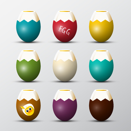 Colorful Vector Boiled Eggs Set with Chicken