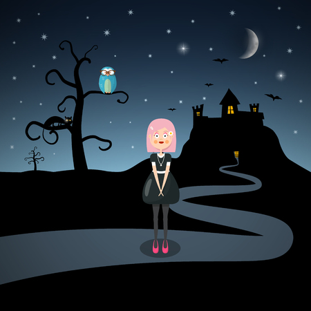 Scary Vector Landscape with Emo Girl, Cat, Owl on Tree and Bats woth Moon above Castle Silhouette. Ilustração