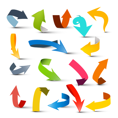 Conjunto de flechas. Colección colorida de la flecha del vector aislada en el fondo blanco.
