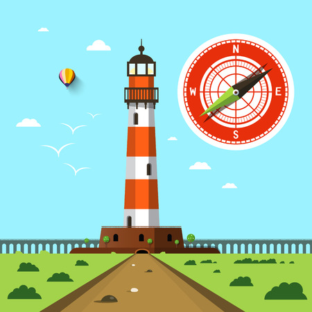 Lighthouse with Compass on Sky Vector Flat Design Landscape Illusztráció
