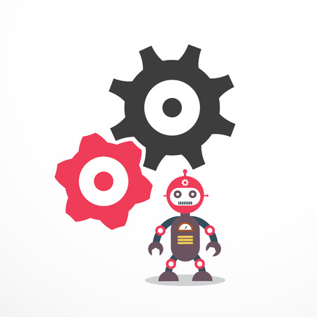 Robot with Cogs - Gears. Vector Technology Symbol.