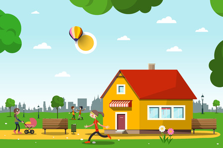 Family House in City Park with People - Vector Urban Landscape Cartoon. Stock Illustratie