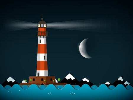 Night Landscape with Lighthouse and Moon on Sky