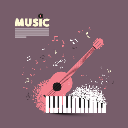 Music CD or Poster Retro Cover Design with Guitar, Flying Notes and Piano Keyboard.