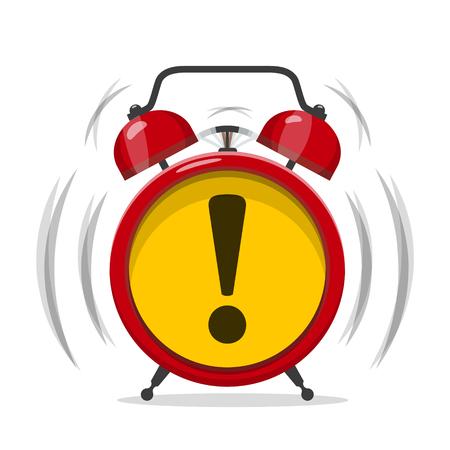 Alarm Clock Icon with Exclamation Mark. Vector Alert Symbol.