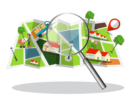 City Map with Houses, Streets and Magnifying Glass Vector Icon Illustration