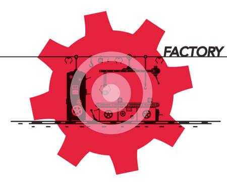 Factory Symbol with Cog Icon Vector Design