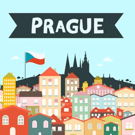 Prague City Vector Flat Design Cartoon