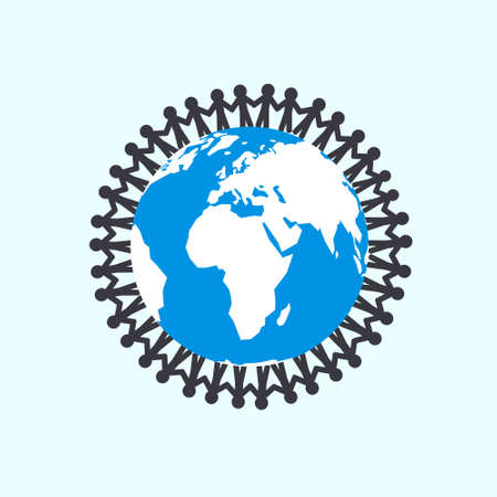 People Holding Hands around Globe - Unity Vector Symbol with Planet Earth
