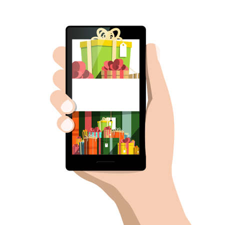 Gift Boxes on Mobile Phone Screen Ilustrace