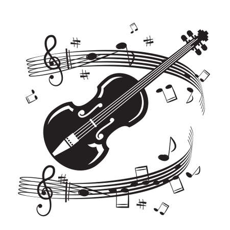 Violin Musical Instrument with Notes on Staff on White Background - Vector