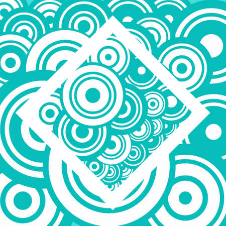 Abstract Vector Retro Background with Blue and White Circles on Square