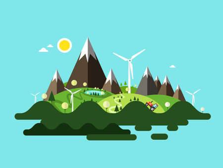 Vector Island Illustration with Mountains and Windmills Ilustrace