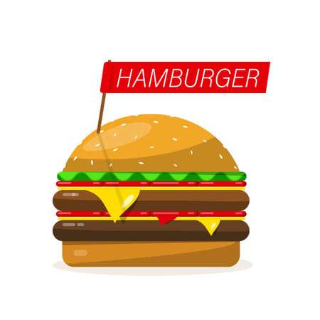 Hamburger Vctor Illustration Isolated on White Background