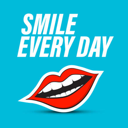 Smile Every Day Symbol with Red Lips Mouth on Blue Background - Vector
