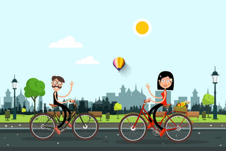 Man and Woman Riding Bikes in City Park - Vector Ilustrace