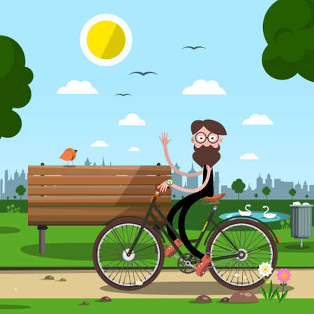 Man on Bicycle with Bench and City Park on Background