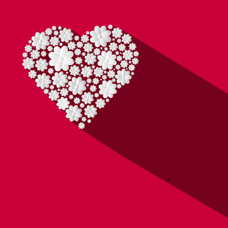 Paper Flowers Heart Shape on Red Background - Vector Ilustrace