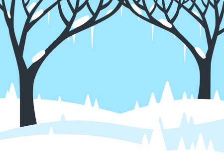 Winter Landscape with Trees and Fields Covered with Snow - Vector Flat Design Background