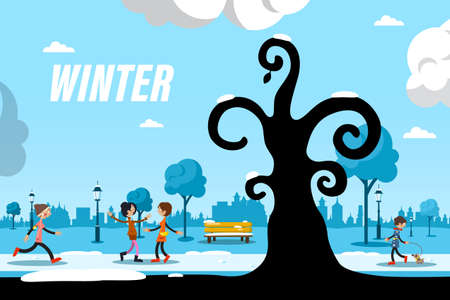 Winter Day in City Park with People and Tree Silhouette - Vector Ilustrace