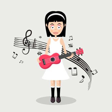 Pretty Girl Playing Ukulele - Vector