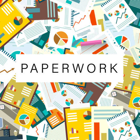 Paperwork Vector Background with Graphs and Articles