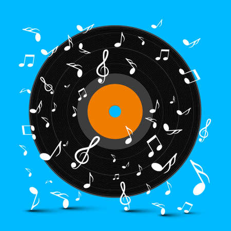 LP Vinyl Record Disc on Blue Background with Notes - Vector