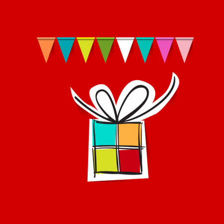 Paper Cut Gift Box with Flags on Red Background