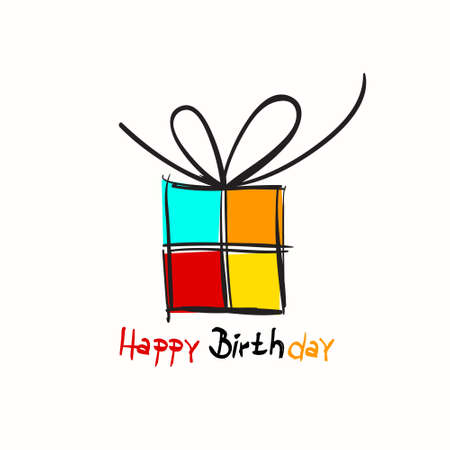 Happy Birthday Card with Gift Box on White Background Ilustrace