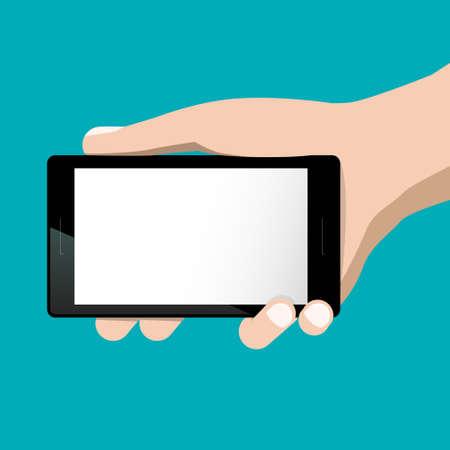 Empty Screen Mobile Phone in Hand - Vector