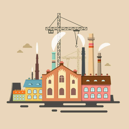 Old Factory with Stacks - Industrial Polution Vector Flat Design Cartoon