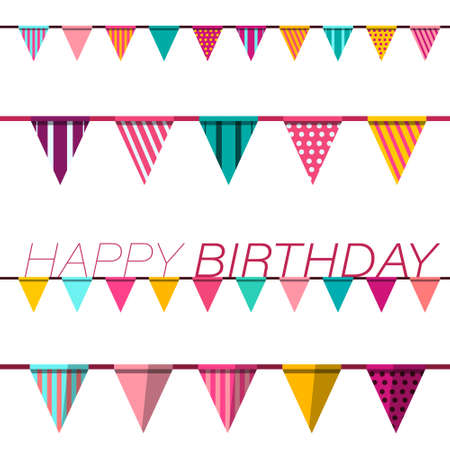 Happy Birthday Greeting Card Vector Design with Flags Ilustrace